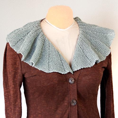 Hand Knit Linen Gray Collar