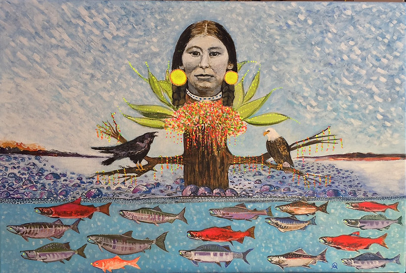 Tree of Life with Cheyenne Woman and Salmon