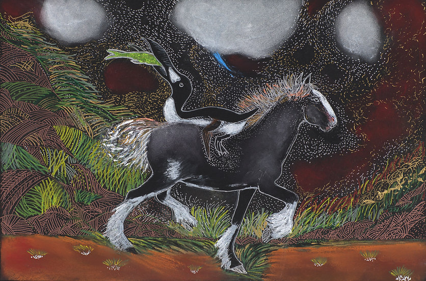 Black Horse with Greater Auk Archival Print
