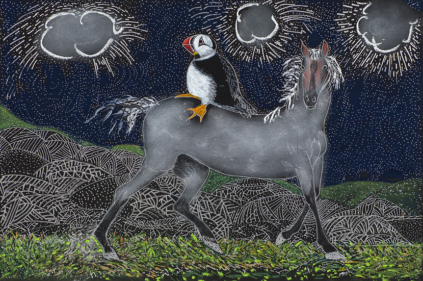 Rain Clouds, Ghost Horse and Puffin Archival Print