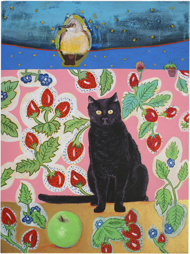 Bird on a Wire With Cat and Green Apple.