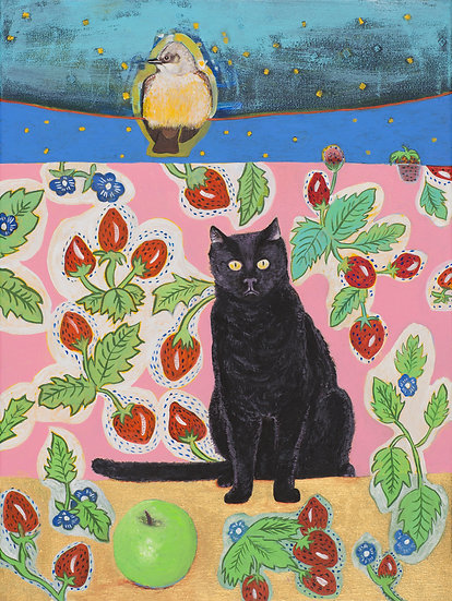 Black Cat with Green Apple