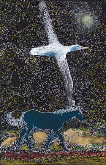 Dark Blue Horse and Albatross Archival Print