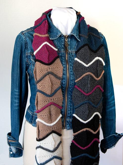 Zig Zag Hand Knit Scarf