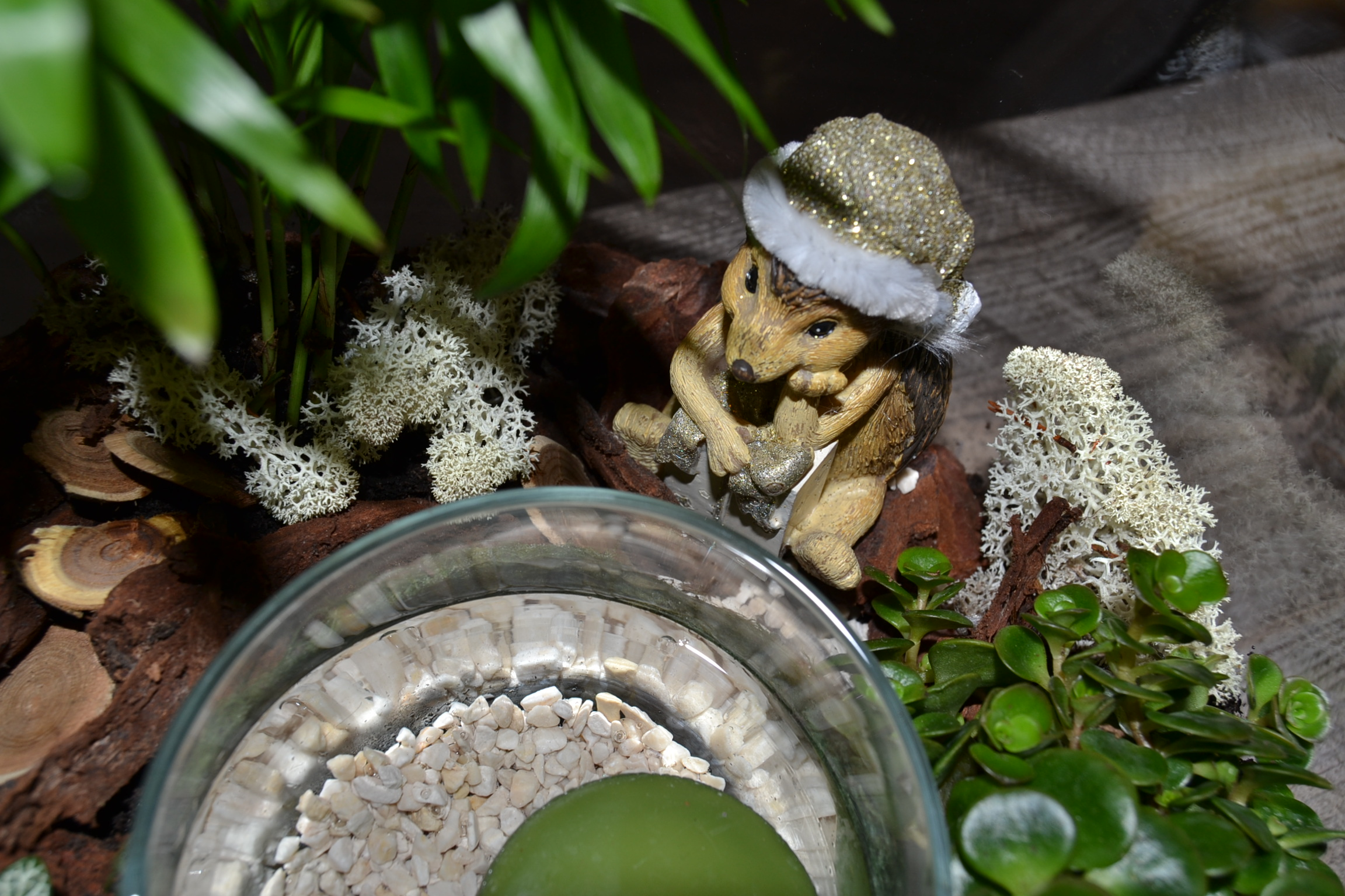 Bougeoir dans vase végétal