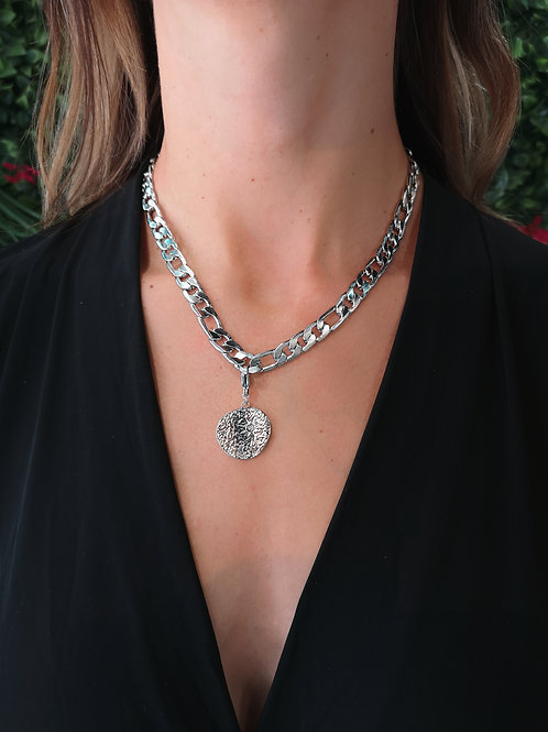 COLLIER MAILLE MEDAILLON ARGENT