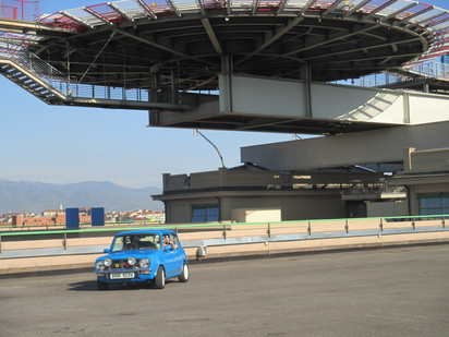 Blue Mini was spotted on the roof of the old FIAT factory as seen in The Italian Job