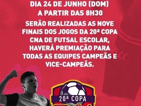 Finais da 20ª Copa CNA de Futsal Escolar serão neste domingo, dia 24 de junho, no Ginásio Arena Sant