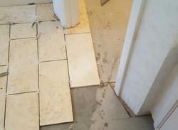 ceramic tile floor in porgess