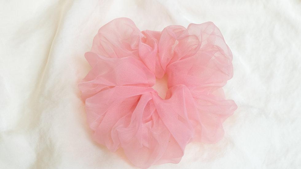 XL Warm Pink Organza Scrunchie