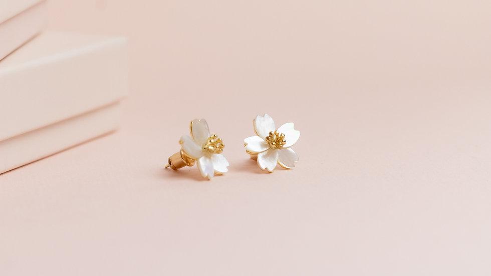 Pearlescent Flower Blossom Stud Earrings