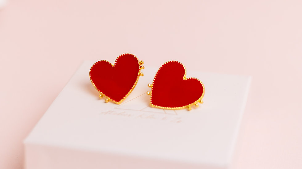 Medium Red Enamel Heart Stud Earring