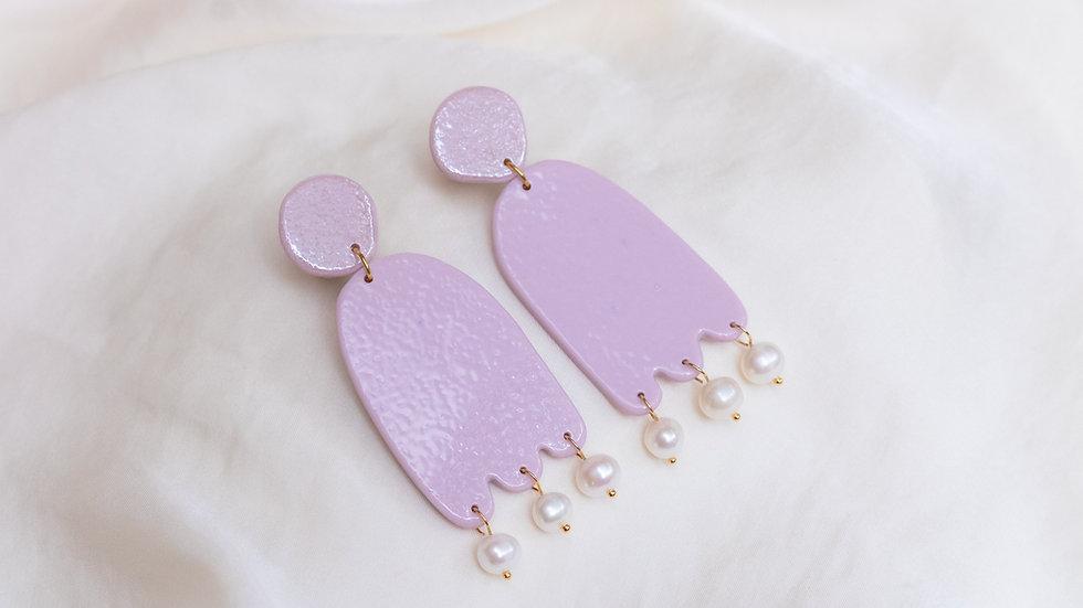 Porcelain & Pearl Drop Earring - Mia - Lilac