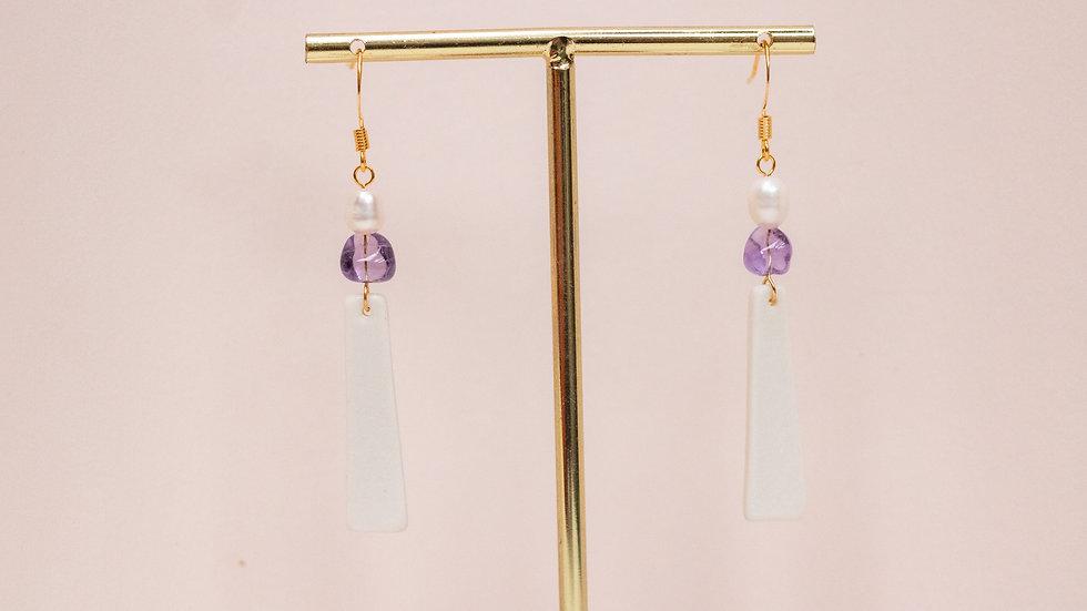 The Charlie Dangle Earring - purple