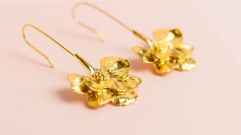 Gold Flower Hook Earrings