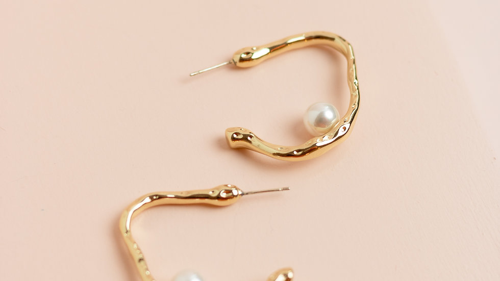 Irregular Faux Pearl Creole Earrings