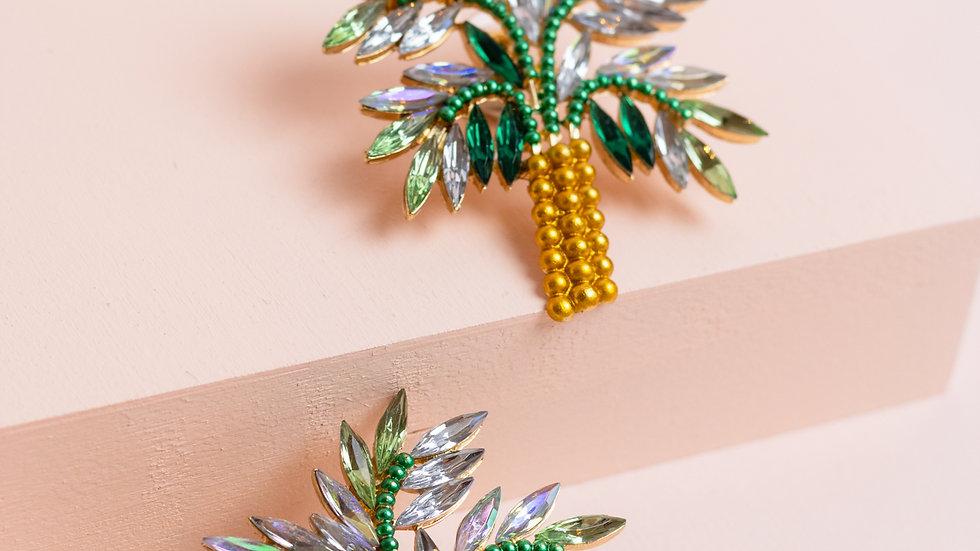 Embellished XL Palm Tree Stud Earrings