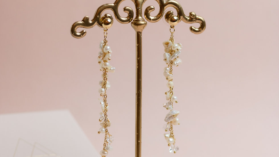 Pearls & Crystals Cluster Drop Earring