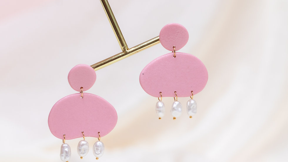 Avena: Pearly Porcelain Drop Earring - Pink