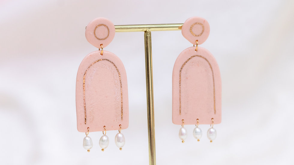 Peach Pearl Rainbow Statement Earrings