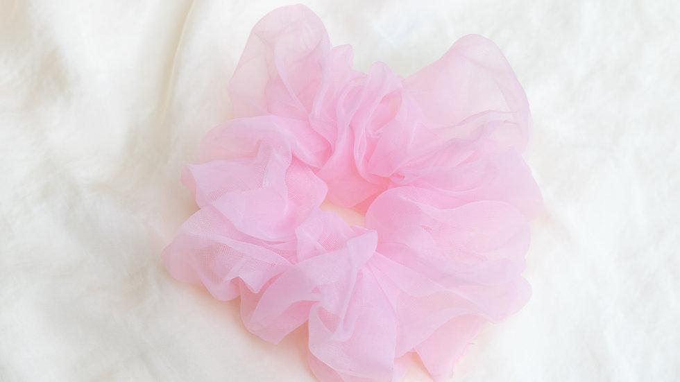 XL Bright Pink Organza Scrunchie