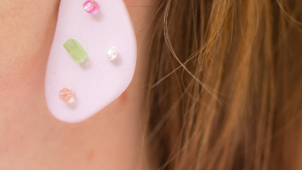 Embellished Porcelain Statement Earring - Lilac Confetti