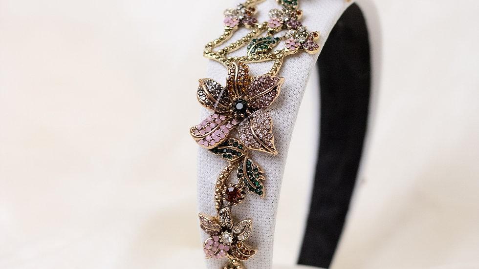 White Floral Embellished Headband