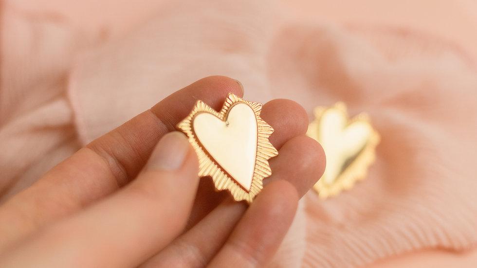 Flamed Heart Stud Earrings