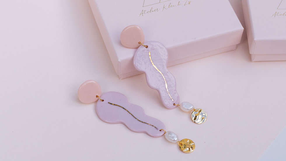 The Valentina Drop Earring Pink & Lila