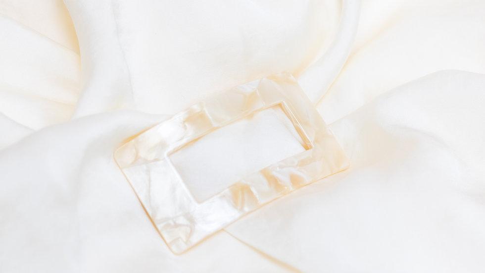 Hair Clip Acrylic Resin - Marble Cream