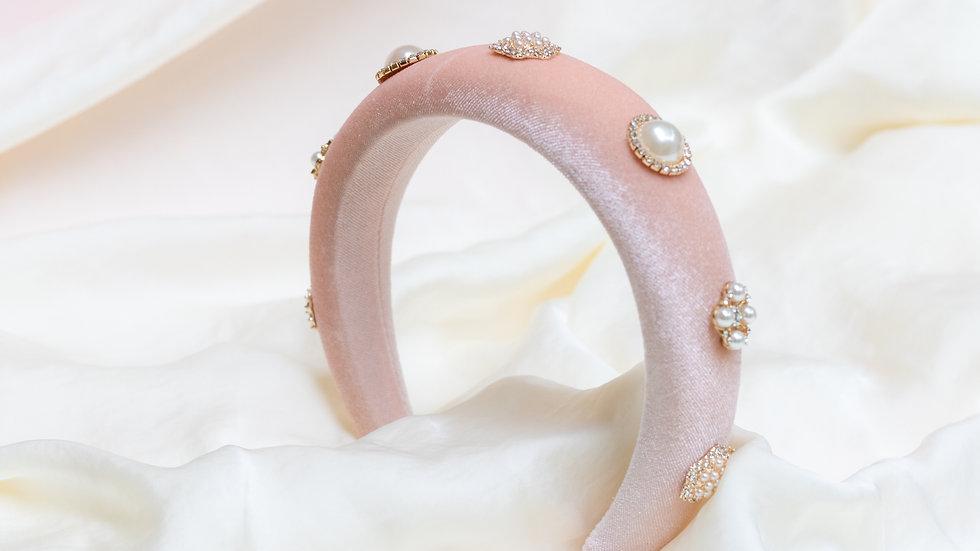 Dusty Pink Embellished Velvet Padded Headband