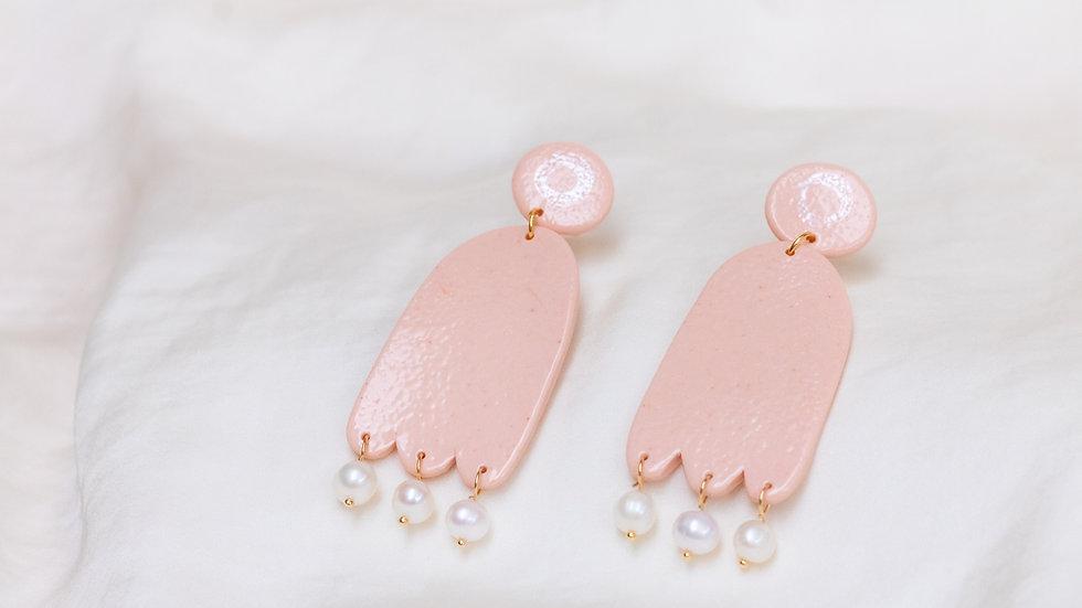 Porcelain & Pearl Drop Earring - Mia - Peach