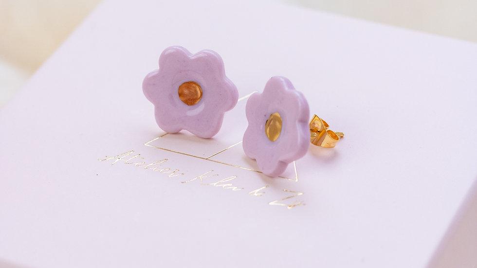 Porcelain Blossom Stud Earring - Lilac