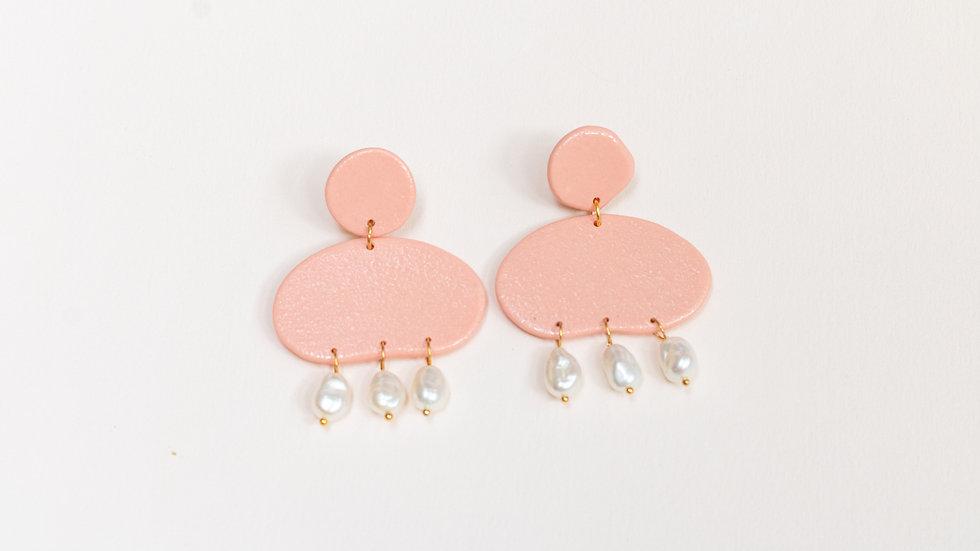 Avena: Pearly Porcelain Drop Earring - Peach