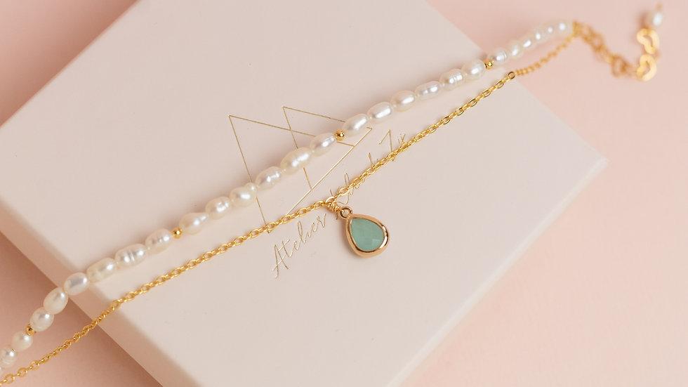 Double Bracelet Pearls & Rhinestone