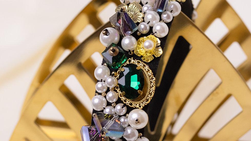 Pearl & Crystal Embellished Black Headband