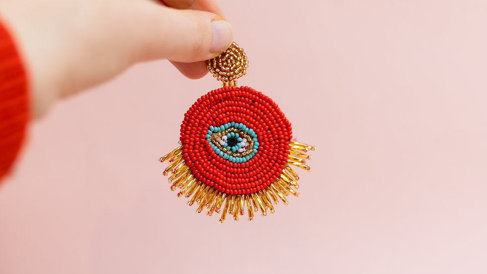 Embroidered Evil Eye Drop Earring - Red