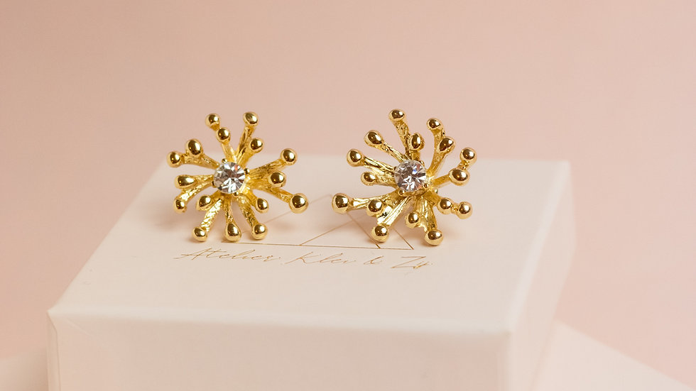 Organic Stud Earring with Crystal