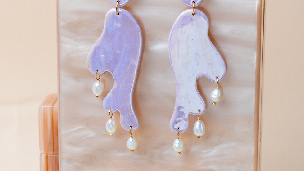 Lilac Pearlescent Statement Earring Donatella