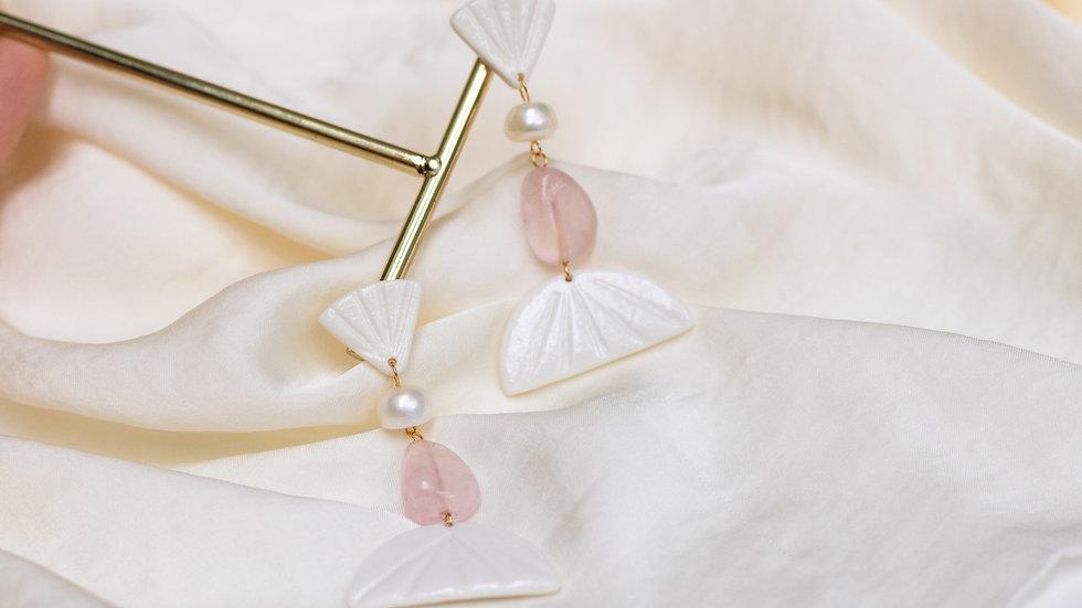 Pink Elegant Statement Pearl Earring - Vienna
