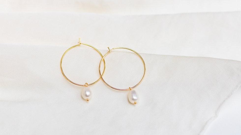 Midi Pearl Charm Creole Earring
