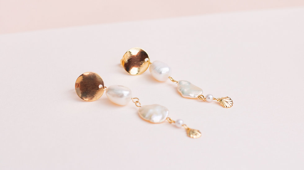 Long Pearl & Shell Drop Earring