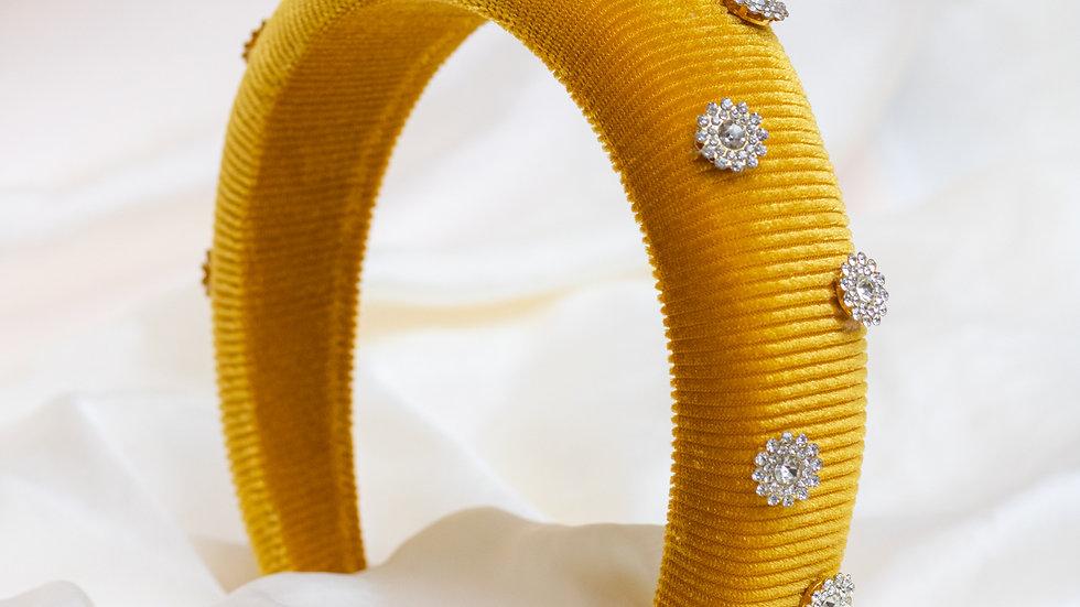 Ochre Embellished Velvet Padded Headband