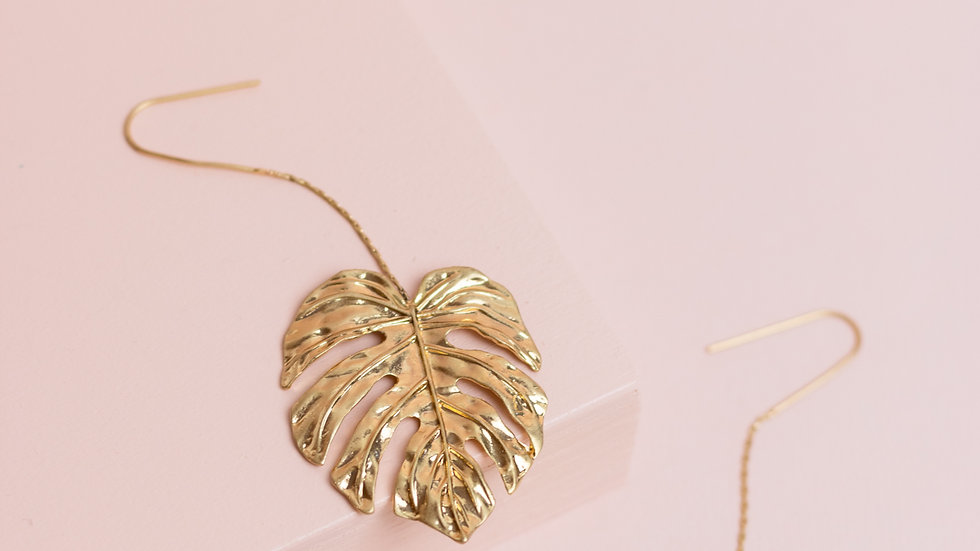 Gold Monstera Leaf Dangle Earrings