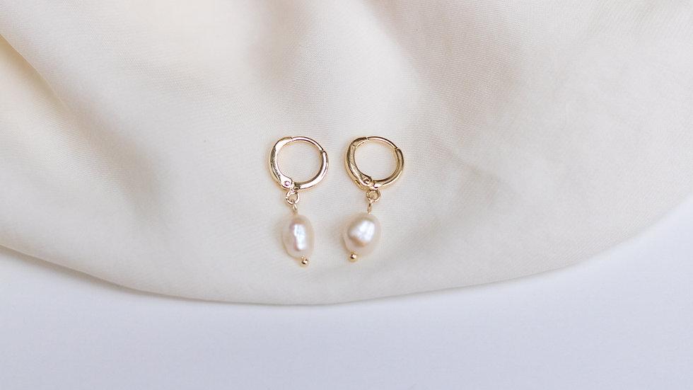 Mini Pearl Charm Creole Earring