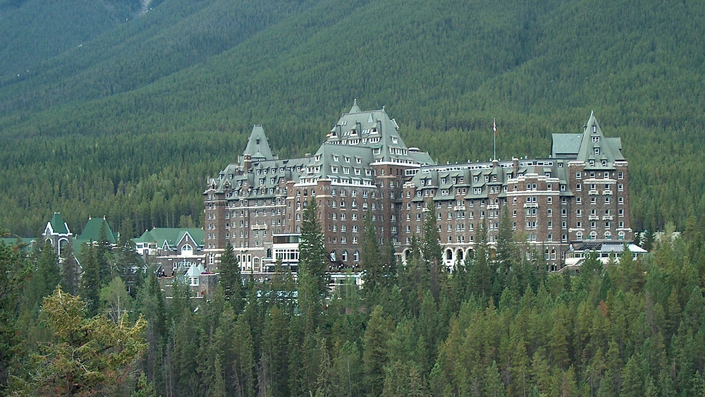 World famous Fairmont Banff Springs hotel in Canada's Rocky Mountains