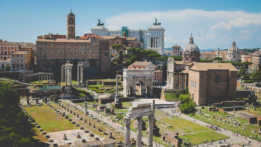 The Roman Forum and other landmarks of Rome's skyline