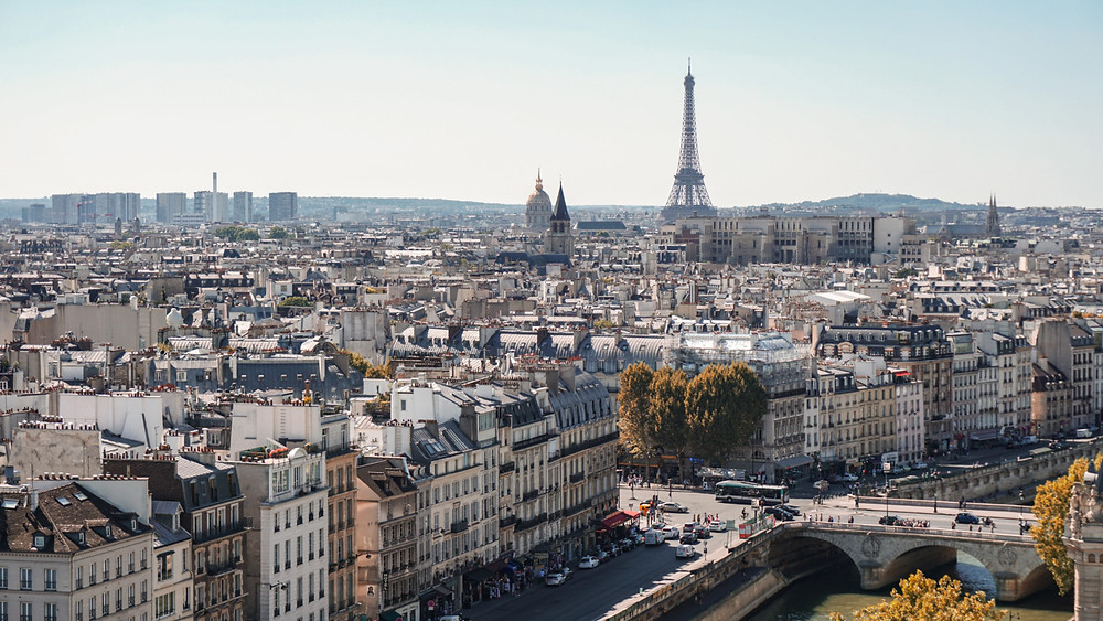 Paris skyline and the Eiffel Tower standing tall among the buildings