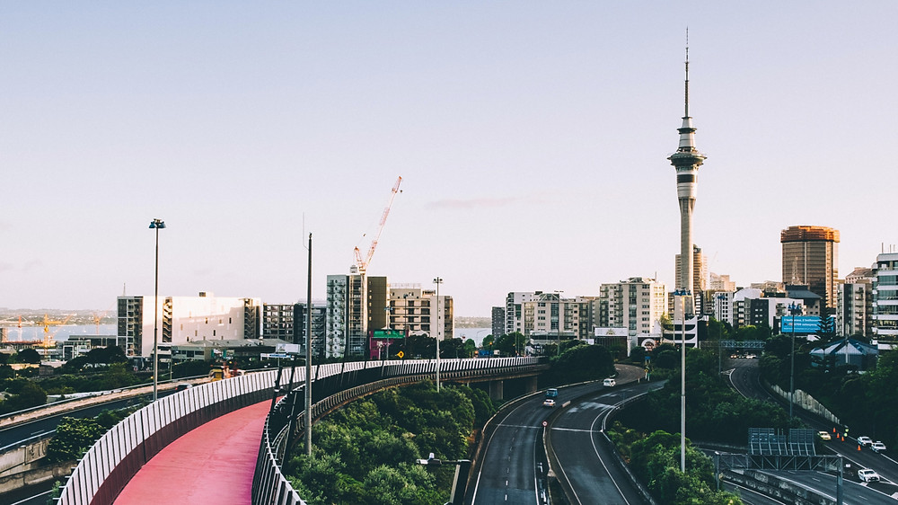 Bike path leading toward the SkyTower in Auckland, New Zealand