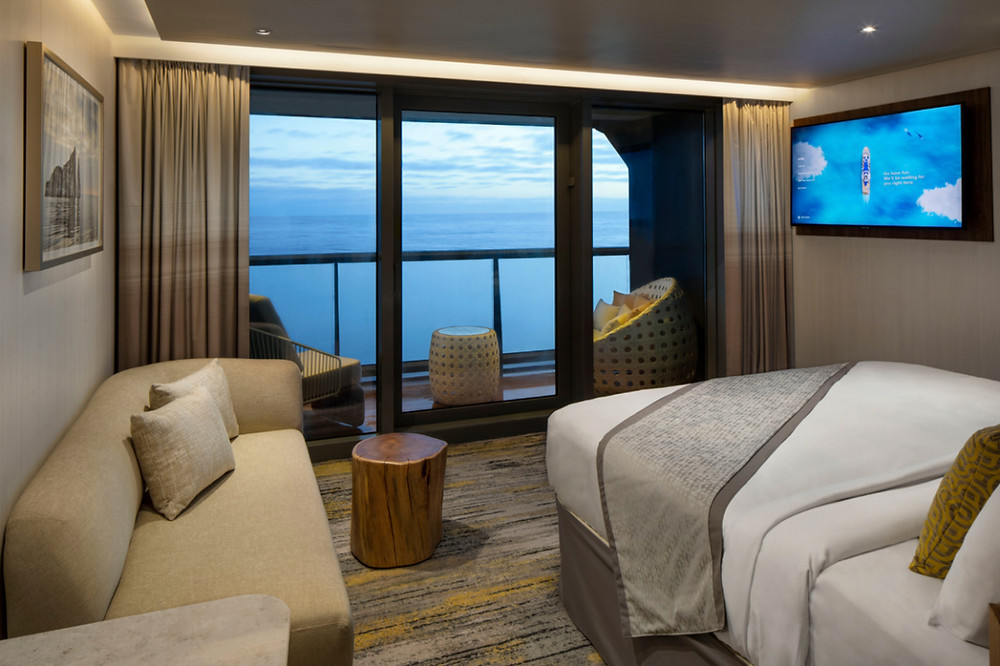 A sky suite and veranda on board Celebrity Flora for sailing the Galapagos Islands in modern luxury